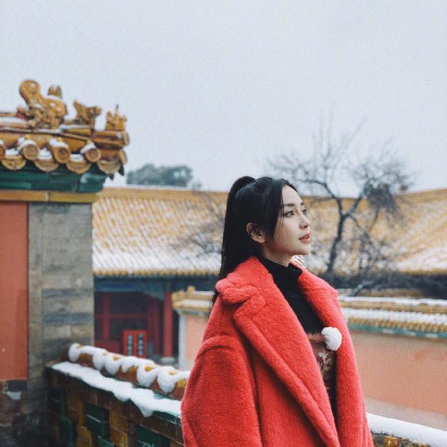 杨颖晒故宫雪景侧颜照 雪美人更美!